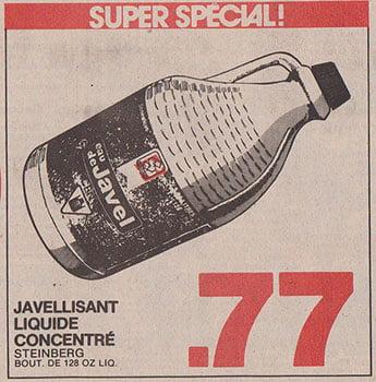 Publicité pour de l'eau de Javel